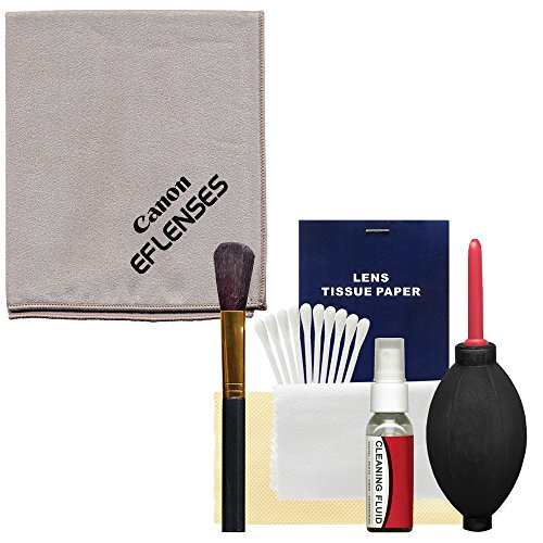 Canon Optical Lens and Digital SLR Camera Cleaning Kit with Brush, Microfiber Cloth, Fluid & Tissue + Hurricane Blower for EOS 6D, 70D, 7D, 5DS, 5D Mark II III, Rebel T5, T5i, T6i, T6s, (Canon Cleaner)