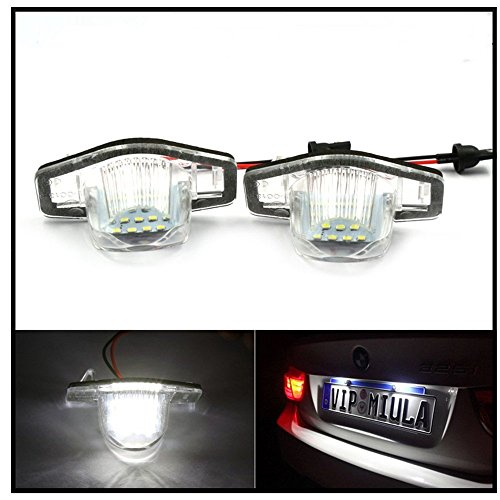 Price comparison product image DLLL 1 Pair Error Free 18 3528 SMD LED License Plate Light Lamp for Honda CR-V Fit Jazz Crosstour Odyssey Stream