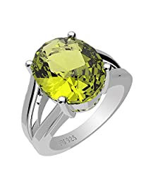 3.90ctw,Genuine Peridot 9x11mm Oval & Solid .925 Sterling Silver Rings