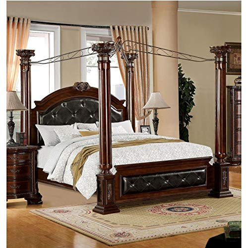 Furniture of America Luxury Brown Cherry Baroque Style Poster Canopy Bed California King ()