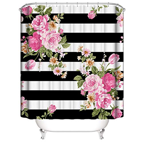 Wencal Black and White Stripe Floral Shower Curtain for Bathroom with Hooks Waterproof 72 x 72 Inches (Pink Stripe Curtain)