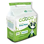 Caboo Natural Tree Free Bamboo Baby Wipes, Eco Friendly Biodegradable Baby Wipes for Sensitive Skin, 3 Resealable Peel Tab Travel Packs, 72 Wipes Per Pack, Total of 216 Wipes