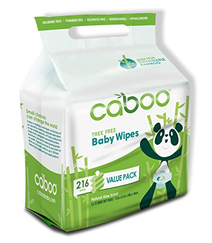 Caboo Tree-Free Bamboo Baby Wipes, Eco Friendly Hypoallergenic Baby Wipes for Sensitive Skin, 3 Resealable Peel Tab Travel Packs, 72 Wipes Per Pack, Total of 216 Wipes