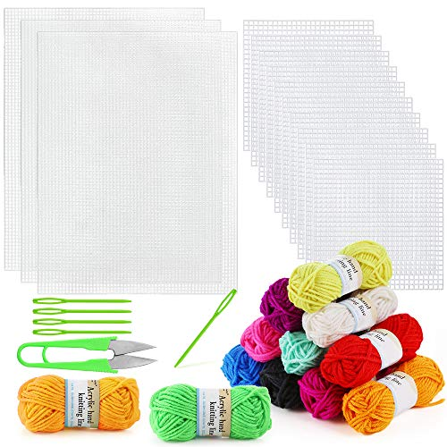 Pllieay 33 Pieces Plastic Mesh Canvas Sheets Kit Including 15 Pieces Clear Plastic Canvas, 12 Color Acrylic Yarn and Embroidery Tools for Embroidery Plastic Canvas Craft