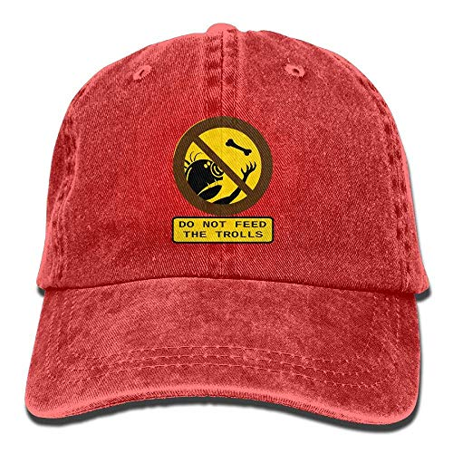 LXXYZ Baseball Cap,Do Not Feed The Trolls Printing Adjustable Baseball Cap Hats for Men Women Adult Red