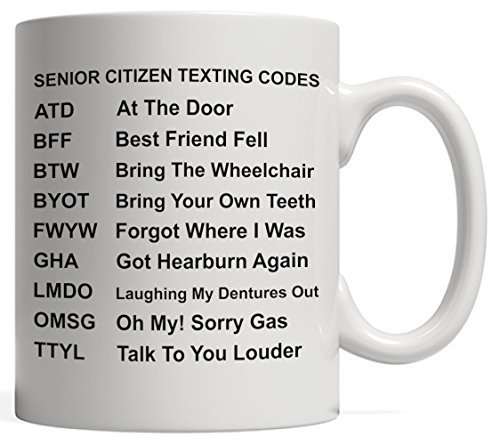 Senior Citizen Texting Codes   Funny Old People Gag Gift - Retirement Party, Life Boss Graduation Mug