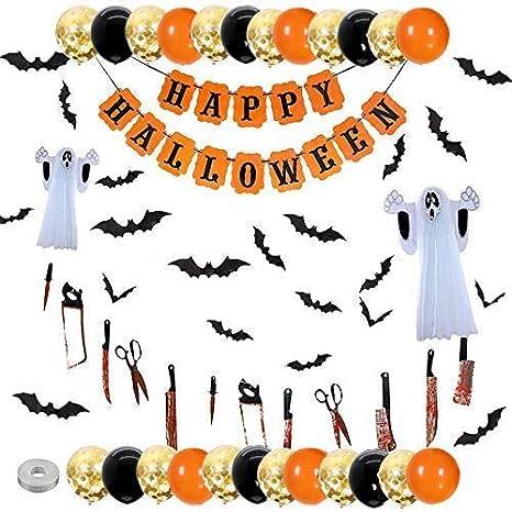 Xnuoyo 48 Pcs Decoración de Fiesta de Halloween, Halloween Kit de Pancartas Guirnaldas de papel de Halloween Cuchillo de Sangriento Pancarta Colgante Papel Panal Fantasma para Halloween Party
