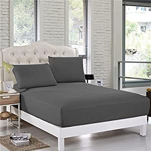 CottonKing Fitted Sheet 700 TC Dark Gray SOLID King Size With 16