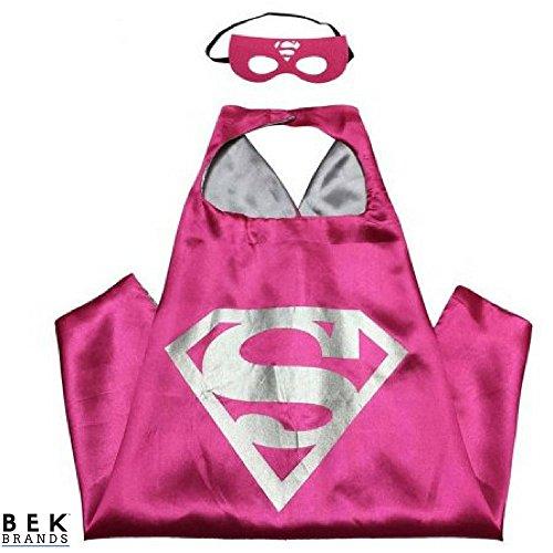 Bek Brands Children's Superhero Costume Cape Mask Sets (Supergirl - Pink + Silver)