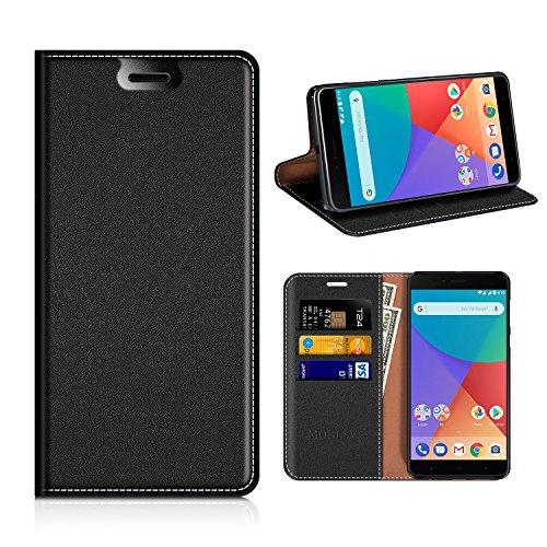 Xiaomi Mi A1 Wallet Case, Mobesv Xiaomi Mi A1 Leather Case/Phone Flip Book Cover/Viewing Stand/Card Holder for Xiaomi Mi A1, Black