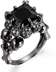 Lzz Ladies' Skull Rings Black Claw Square Princess Cut Cubic Zirconia Gothic Ring Size 6-10 (US Code 7)