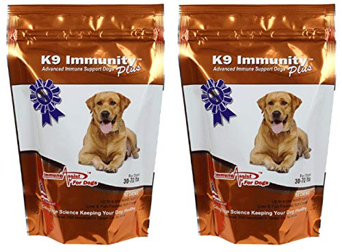 (Aloha Medicinals - K9 Immunity Plus - Potent Immune Booster for Dogs 30-70 lbs - Certified Organic – Mushroom Enhanced Supplement - Veterinarian Recommended Dog Health Supplement - 60 Chews)