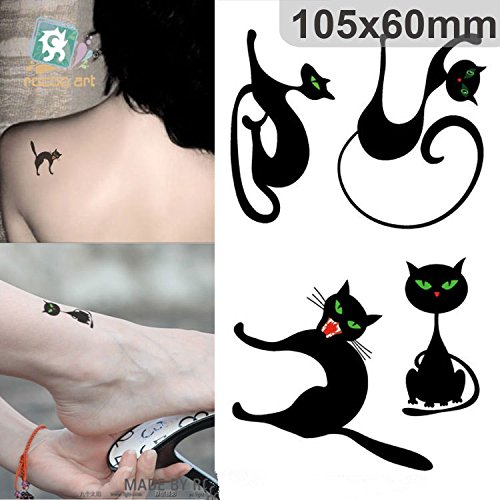 Halloween Cat Kitten Terror Tattoos Sexy Women 10pcs Transfer Stickers 10.5x6cm Costumes Cosplay