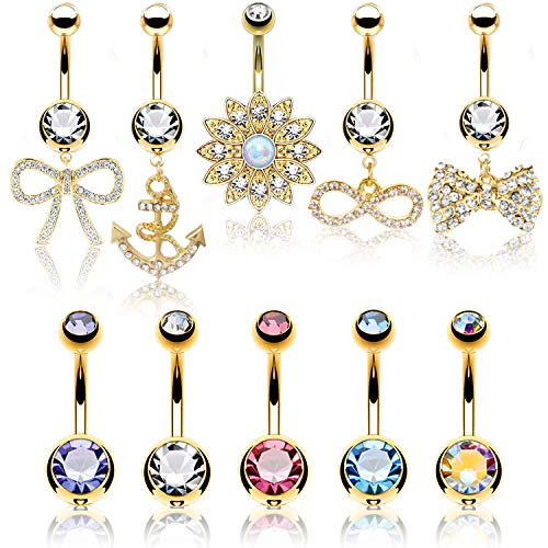 (BodyJ4You 10PC Belly Button Rings Flower Anchor Bow Dangle Goldtone 14G Women Navel Piercing )
