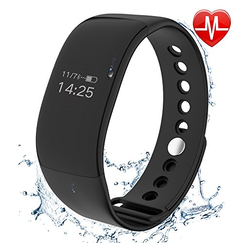 HOMEWINS Sport Waterproof Watch – Smart Heart Rate Monitor Band Blood Pressure Fitness Tracker for Android/IOS Kids Women Men Calorie Burn Tracker by (1002,black)