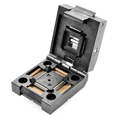 ALLSOCKET QFP100-0.5 Socket IC Burn-in Tesing Socket OTQ-100-0.5-09 0.5mm Pitch 14X14mm IC Dimension Clamshell Socket Soldering Version(QFP100-0.5-SCL)
