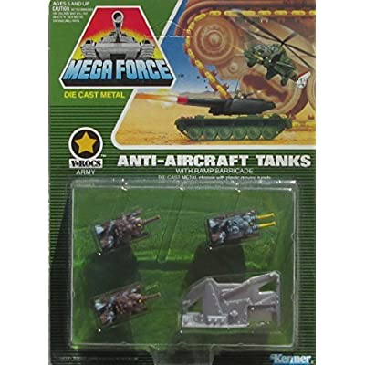 Kenner 1989 Mega Force V-ROCS Army Die Cast Anti-Aircraft Tanks Micro Vehicle Set: Toys & Games