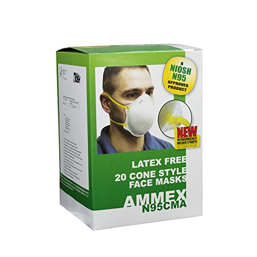 AMMEX - N95CMA-BX - Cone-Style Face Mask - NIOSH Certified, One Size, White (Box of 20) by Ammex