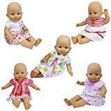 ZITA ELEMENT Baby Doll Clothes - 5 Sets Handmade Dresses Cute Clothing for 14-16 Inch Alive Doll and 18 Inch American Girl Doll XMAS GIFT