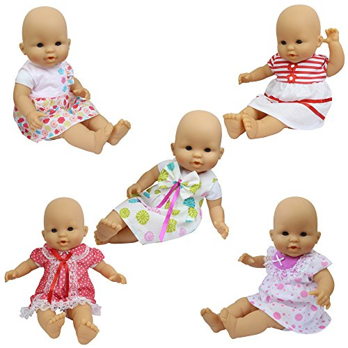 3y Baby Clothing (ZITA ELEMENT Baby Doll Clothes - 5 Sets Handmade Dresses Cute Clothing for 14-16 Inch Alive Doll and 18 Inch American Girl Doll XMAS GIFT)