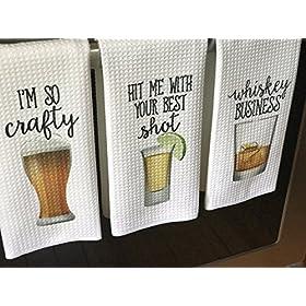 Funny Alcohol Kitchen Towel Gift Beer Lover Whiske...