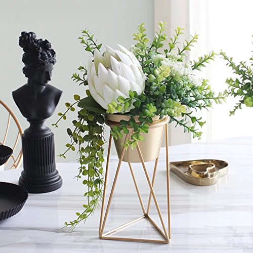 Pot De Fleurs En Metal Awhao Vase Decoratif En Metal Dore Etagere