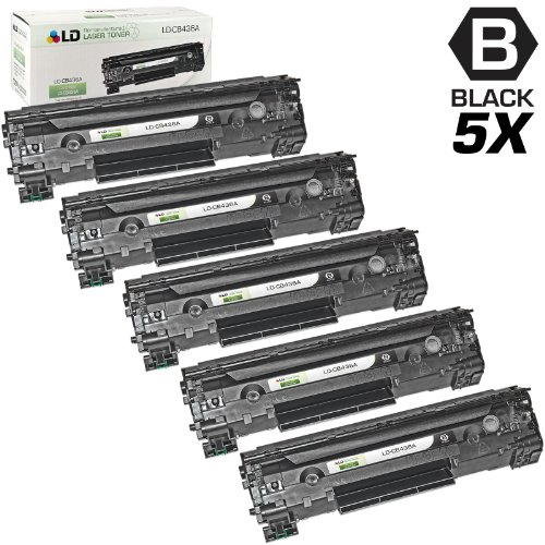 LD © Remanufactured Replacement Laser Toner Cartridges for Hewlett Packard CB436A (HP 36A) Black for the M1522/P1505 Printers (5 Pack), Office Central