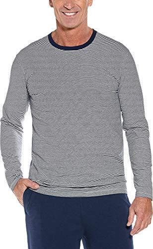 Coolibar UPF 50+ Men's Long Sleeve Everyday T-Shirt - Sun Protective (Large- Navy/White Thin Stripe)