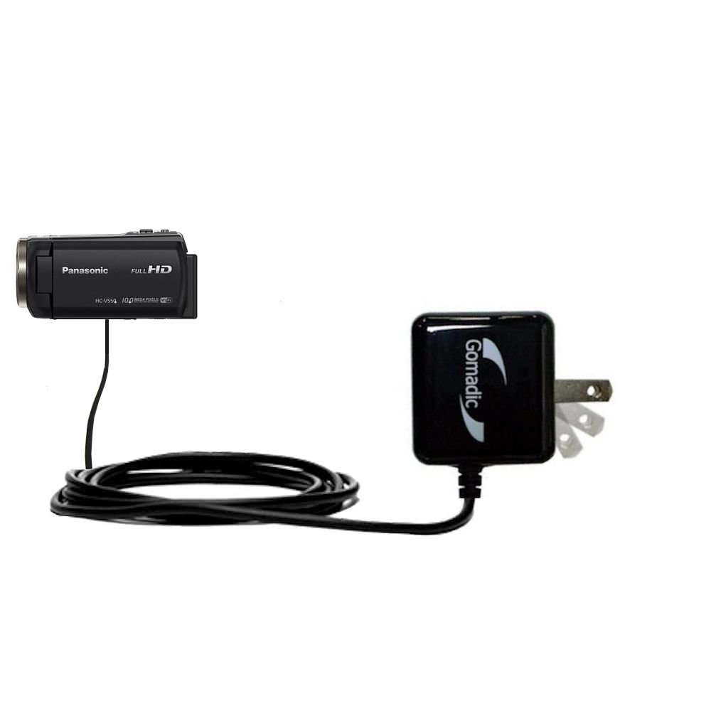 Gomadic Intelligent Compact AC Home Wall Charger suitable for the Panasonic HC-V550 / V550 - High output power with a convenient, foldable plug design - Uses TipExchange Technology