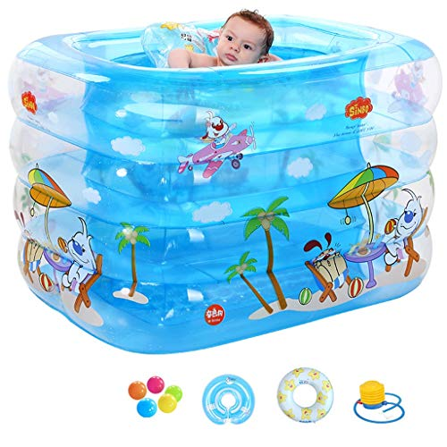 Inflatable Bathtub, Large Family Swimming Paddling Pool,Thicker Kid Baby Shower Basin, for Home Outdoor Activities Garden Party, 115x95x75cm (Color : Blue, Size : B)