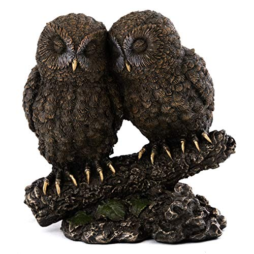 Top Collection Owl Lovers Statue on Tree Branch - Sleeping Great Horned Owl Sculpture in Premium Cold Cast Bronze- 5-Inch Collectible Animal Figurine