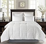 Millihome Luxury Baffle Box White Down Comforter 650 Fill Power Duvet Insert 600 Thread Count Cover, Twin/Twin XL Size