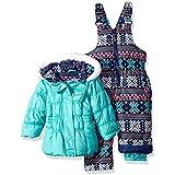 Pink Platinum Baby Girls colorful Snowflake Print Snowsuit, Seafoam, 12M
