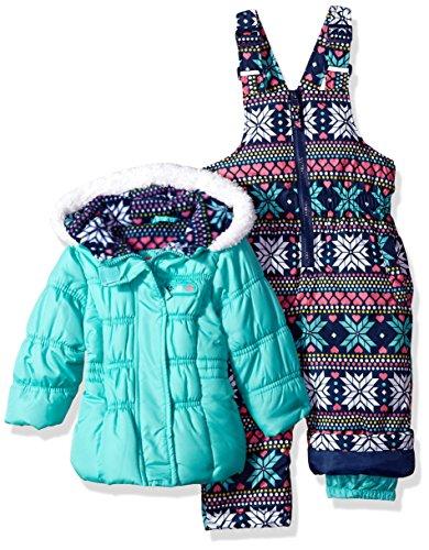 Pink Platinum Baby Girls colorful Snowflake Print Snowsuit, Seafoam, 24M (Platinum Flakes)