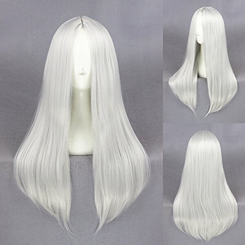 MRealGal Women's Long Straight White Wig Human Hair Style for Cosplay Costumes (White)