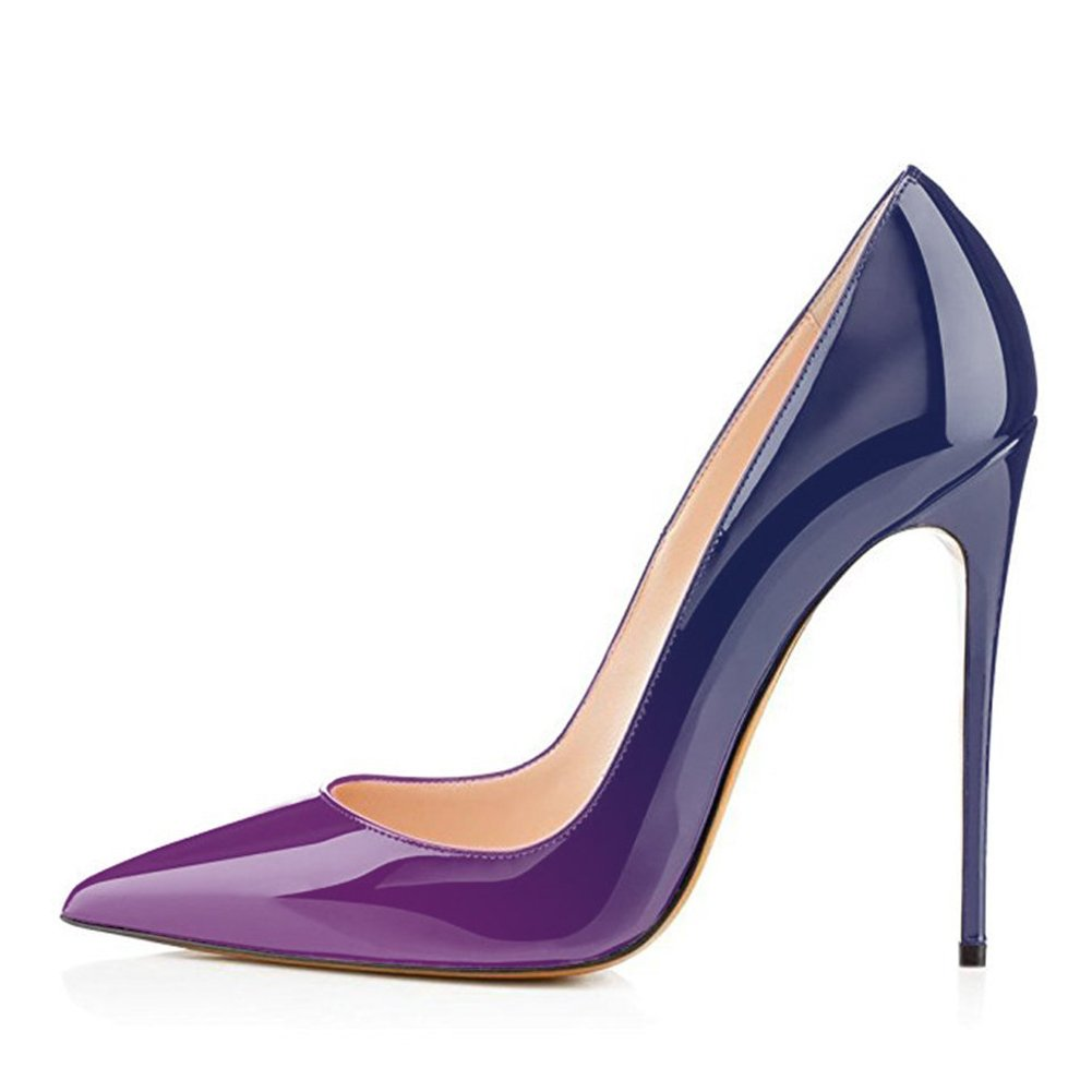 Purple to bluee UMEXI Women Pointed Toe High Heels Slip on Stilettos Wedding Party Dress shoes Plus Size Pumps