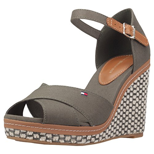 Tommy Hilfiger Iconic Elena Basic Womens Wedges Olive - 36 EU by Tommy Hilfiger