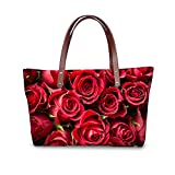 Womens Sexy Rose Red Design Purses and Handbags Ladies Tote Bags