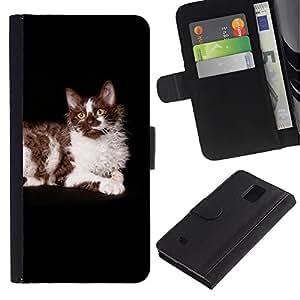 LASTONE PHONE CASE / Lujo Billetera de Cuero Caso del tirón Titular de la tarjeta Flip Carcasa Funda para Samsung Galaxy Note 4 SM-N910 / Ragdoll American Longhair Curl Cat Black