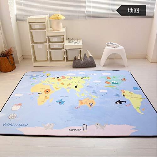Vier Seasons Samtiger Langsamer Rebound Verdickte Wohnzimmer Matte Kind Rutschfest Kriechntes Pad Baby-pad Game Carpet Rund 150  195cm Puzzle-Park Map