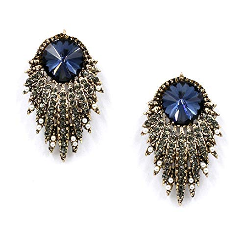 LiveSublime Sparkling Faux Hematite and Gold Dangle Drop Earrings (blue starburst)