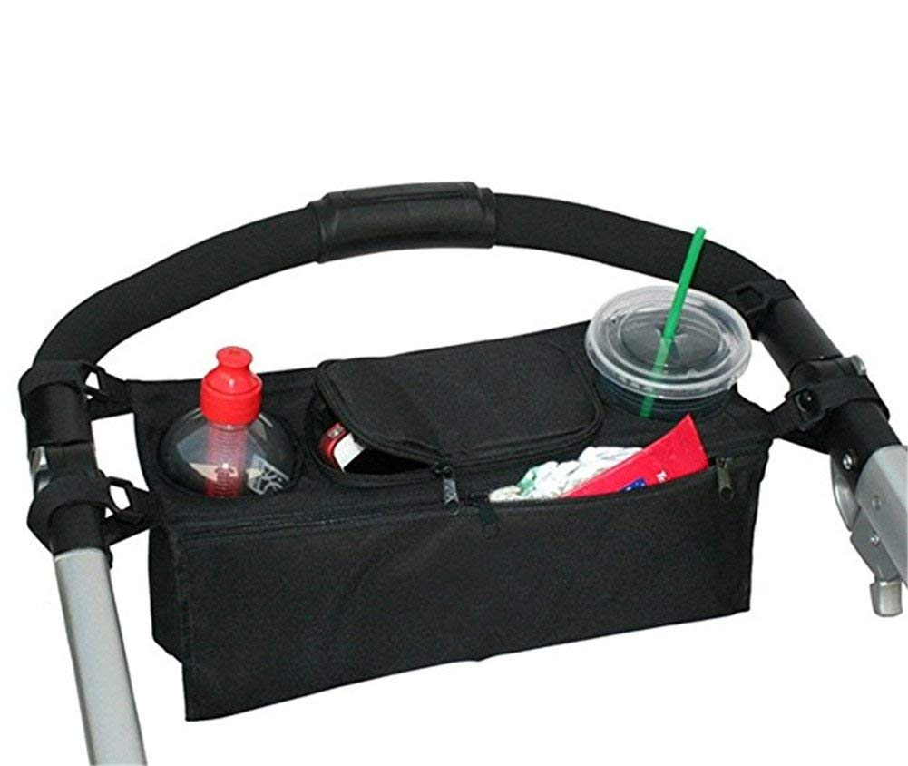 Multifunctional Baby Stroller Cup Bag Storage Organizer Pram Pushchair Cup Holder Buggy Bottle Drink Food Hanging Storage Pouch for Small Items Cup Baby Diaper - Black Durable and Useful