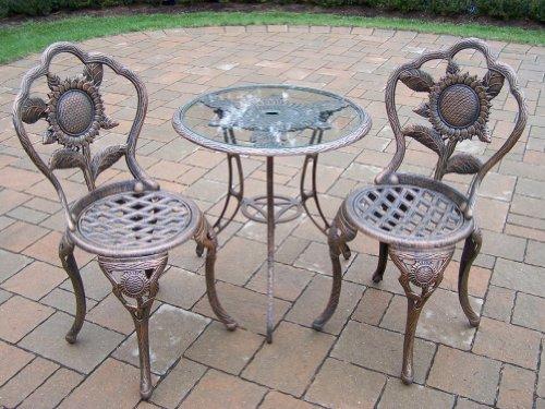 Oakland Living Sunflower Cast Aluminum 3-Piece Bistro Set, Antique Bronze