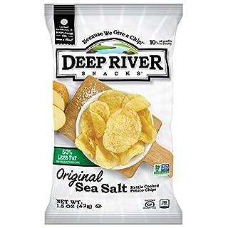 Deep River Snacks 50% Reduced Fat Kettle Potato Chips, Sea Salt, 1.5-Ounce (Pack of 24), Gluten Free