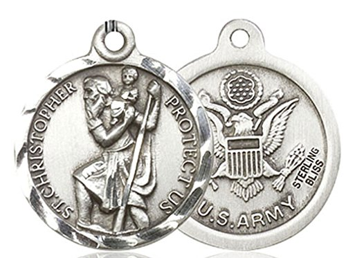 Men's Round Sterling Silver St. Christopher Army Medal - Pendant Only