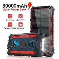 Solar Power Bank 30000mAh, Solar Charger...