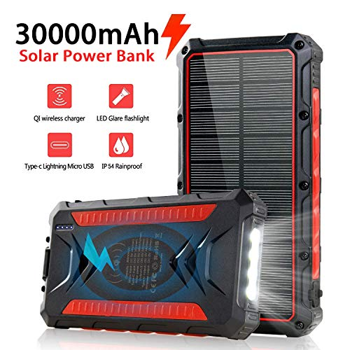 Solar Power Bank 30000mAh, Solar Charger, Qi Wireless Charger, Outputs 5V/3A High-Speed & 2 Inputs Huge Capacity Phone Charger for Smartphones, IP54 Rating, Strong Light LED Flashlights