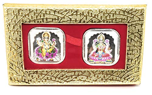 Ganesh Silver Coin - CARATCAFE God Lakshmi Ganesh Silver Coins 3D Color(20 Gram / 999 Purity) Coins for Puja, Diwali Gift, Hindu Deity Pooja, Wealth, Luck & Prosperity {Free AARTI SANGRAH} Set of Two Coins 10gms Each