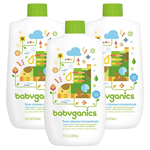 Babyganics Floor Cleaner Concentrate, Fragrance Free, 16-oz (Pack of 3)