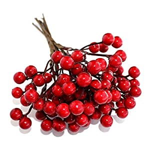 OLYPHAN Artificial Berries Red Pip Berry Stems Spray for DIY Crafts – Wreath, Garland, Christmas Ornaments Decoration – Decorative Winter Floral Picks for Craft Decorations/Home Holiday Decor